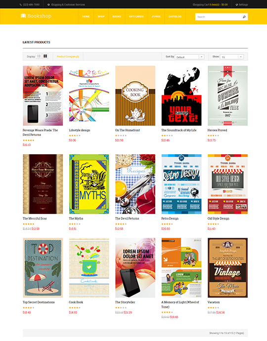 Joomla book store template yellow theme - JA Bookshop