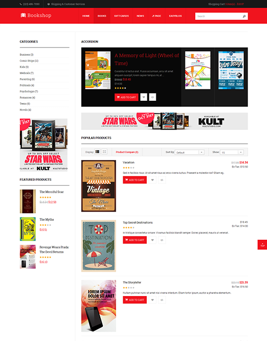 joomla ecommerce joomla template for book store website - JA Bookshop