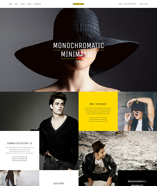 Ecommerce Fashion Store Joomla Template homepage horizontal menu - JA Brickstore