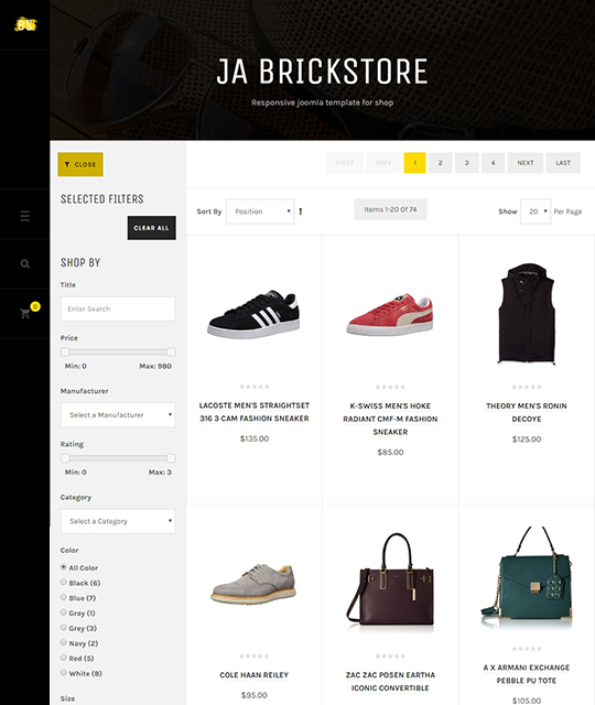 Ecommerce Fashion Shoe Store Joomla Template product filter - JA Brickstore