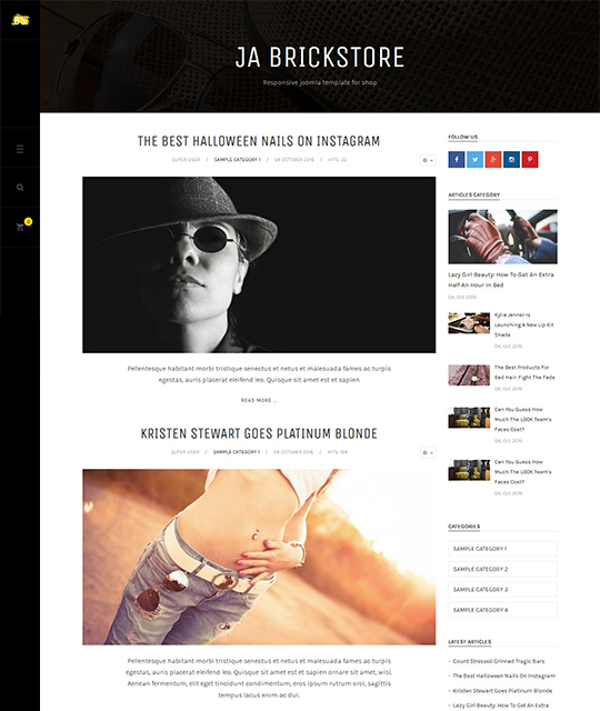 Ecommerce Fashion Store Joomla Template blog layout - JA Brickstore