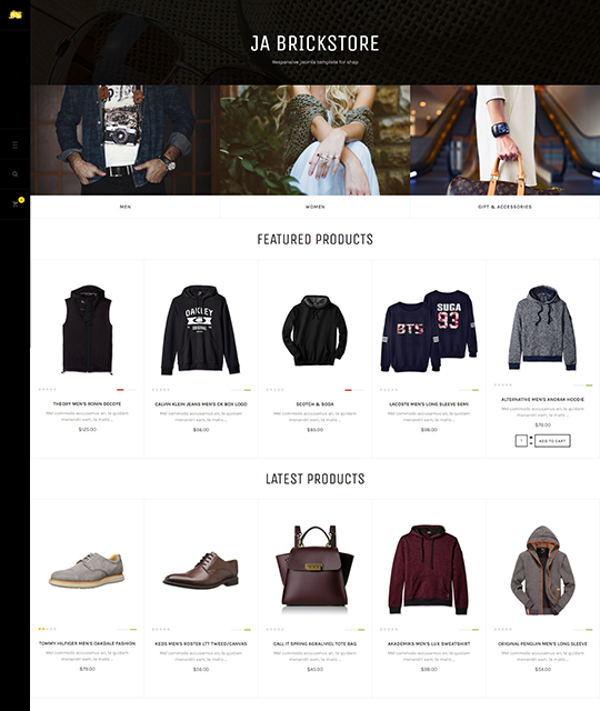 Ecommerce Fashion Store Joomla Template product listing layout - JA Brickstore