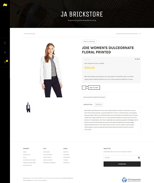 Ecommerce Fashion Store Joomla Template product page layout - JA Brickstore