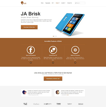 business Joomla template - JA Brisk cofee theme