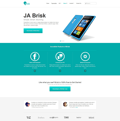 business Joomla template - JA Brisk cyan theme