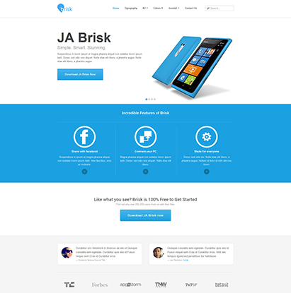 business Joomla template - JA Brisk default layout