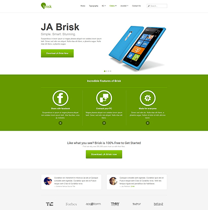 business Joomla template - JA Brisk green theme