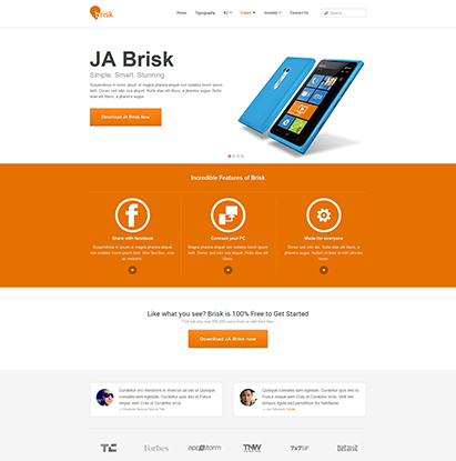 business Joomla template - JA Brisk orange theme