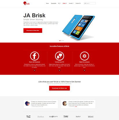 business Joomla template - JA Brisk red theme