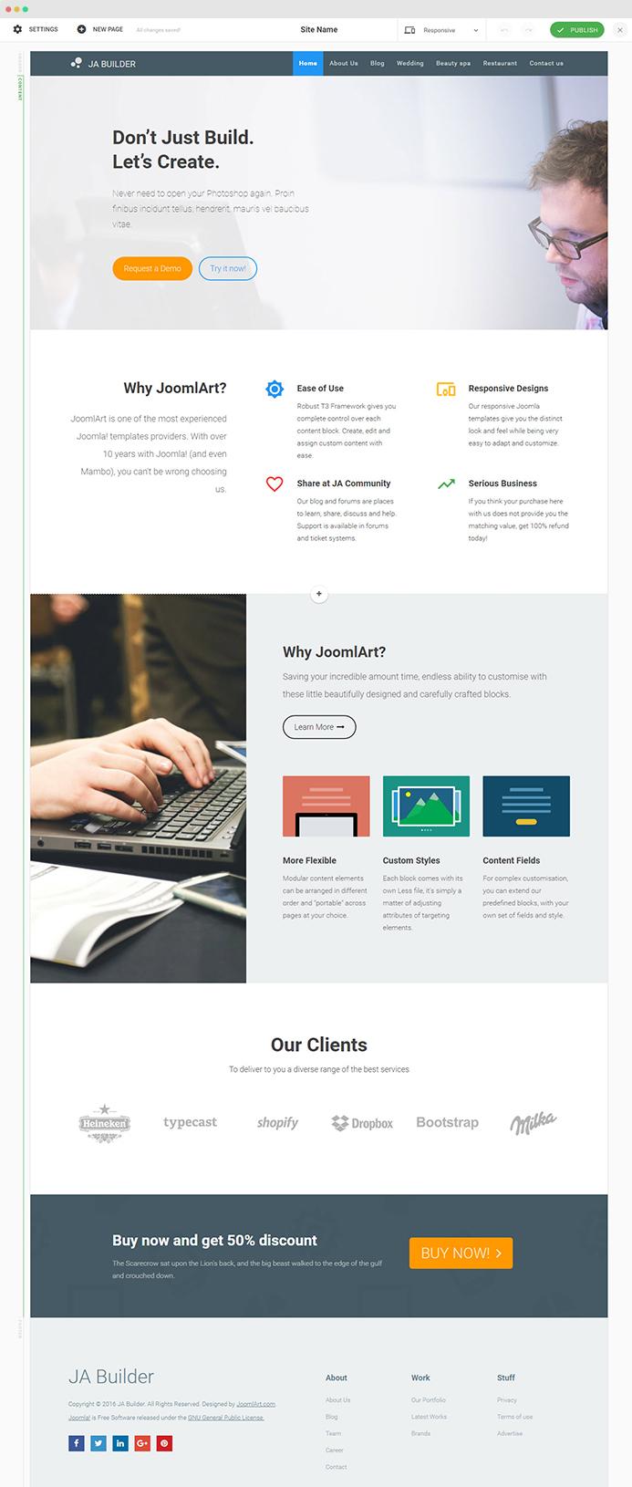 Joomla Page Builder Create Stunning Landing Page In Minutes - Joomla landing page template