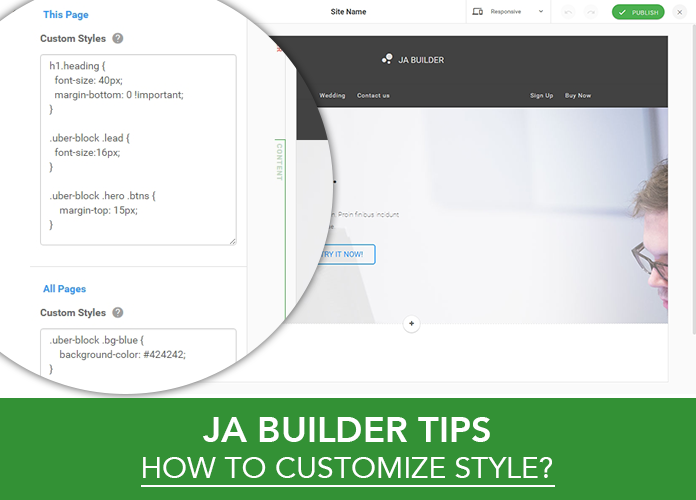 how to customize Joomla page builder styles
