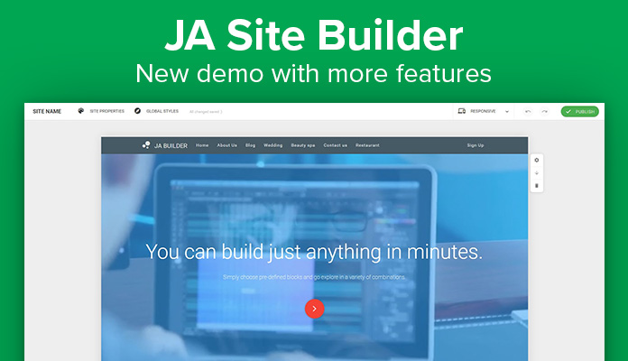 Joomla site builder demo update
