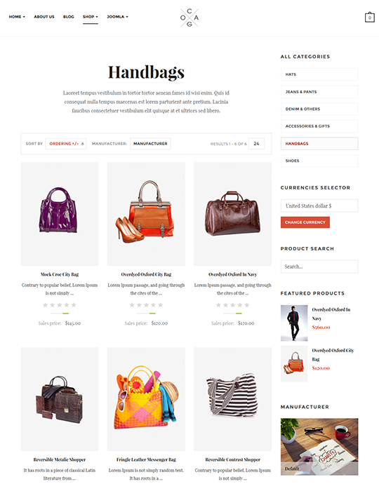 ecommerce Joomla template for fashion website - JA Cagox
