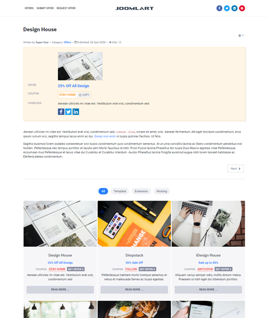 Offer details Joomla template - JA Campaign