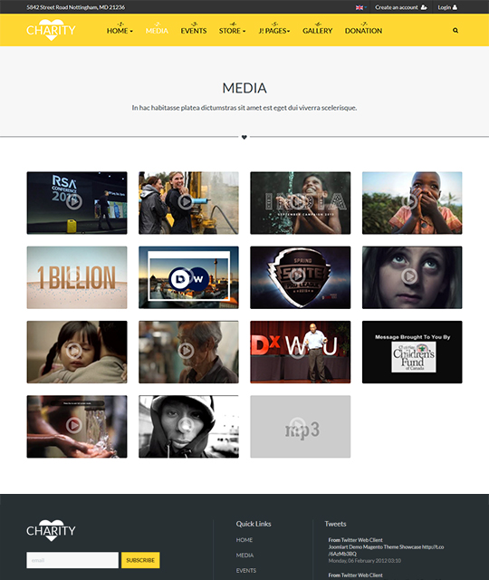 Charity and donation Joomla template media page - JA Charity