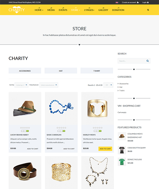 Charity Joomla template shop page - JA Charity