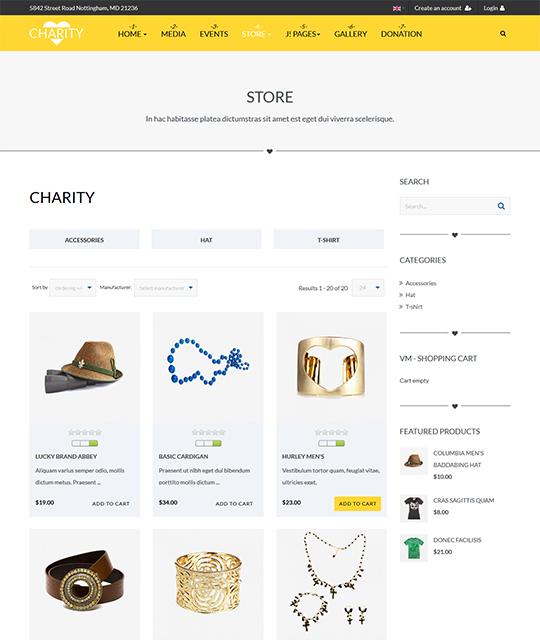 Charity Joomla template shop page - JA Charity