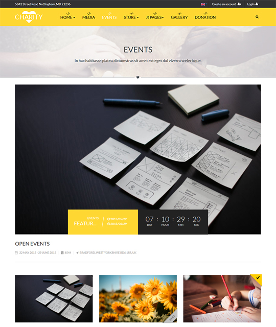 Events page of charity and donation Joomla template - JA Charity