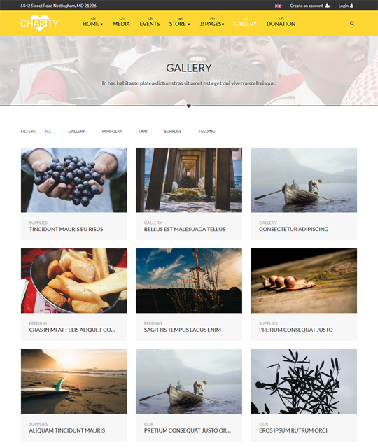 Gallery page of charity and donation Joomla template - JA Charity