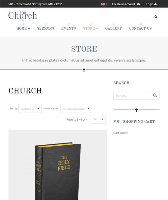 shop page of charity joomla template - JA Charity