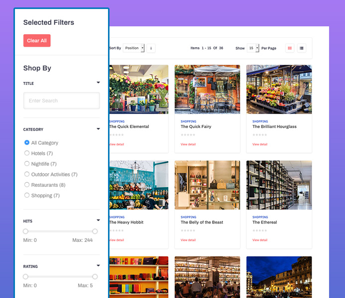 JA City Guide template Filter page