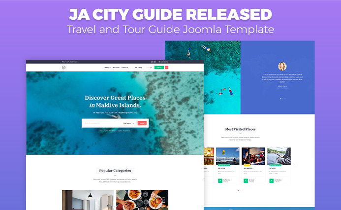 Review | Features :Travel and Tour Guide Joomla Template: JA City Guide