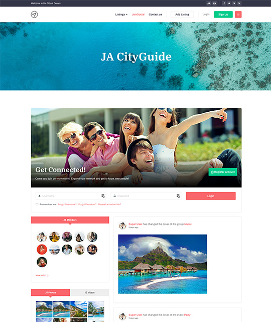 JomSocial Joomla template - JA City Guide