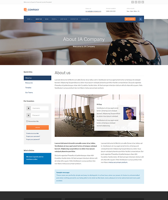 Corporate Business Joomla Template article layout - JA Company