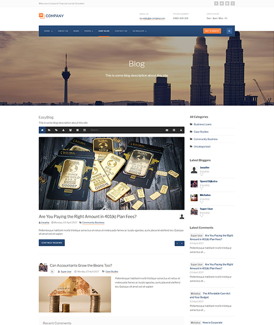 Corporate Business Joomla Template blog layout - JA Company