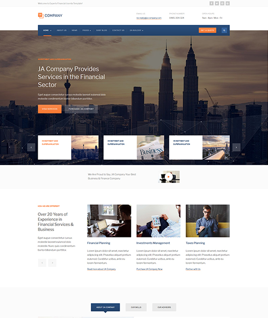 Corporate Business Joomla Template Homepage Layout Brown Ja Company