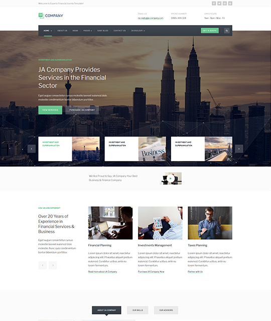Corporate Business Joomla Template video layout green color - JA Company