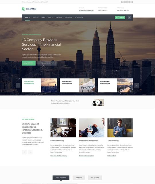 Corporate Business Joomla Template video layout green color - JA Company