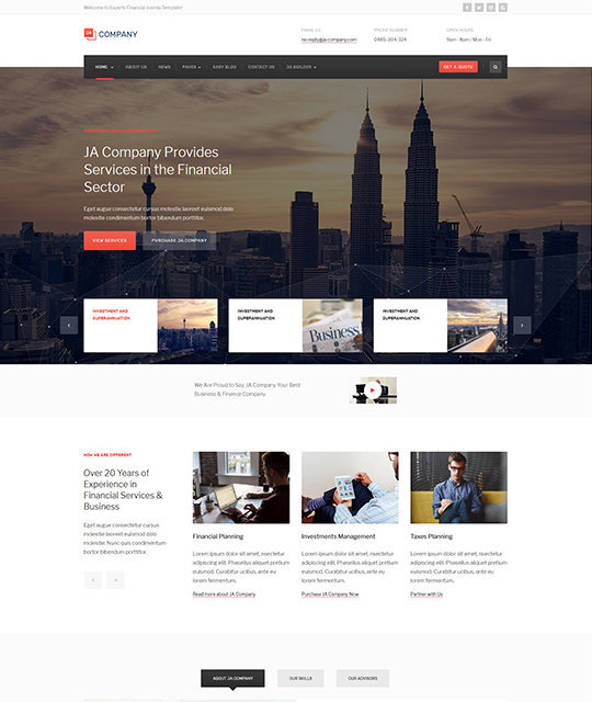 Corporate Business Joomla Template news blog layout red color- JA Company