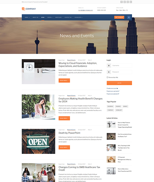 Corporate Business Joomla Template news layout - JA Company