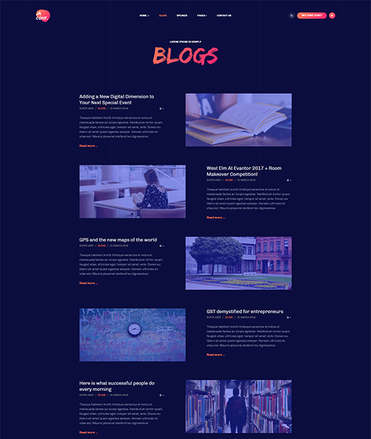 Joomla events template blog page layout - JA Conference