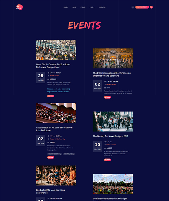 Joomla events template events category page layout - JA Conference