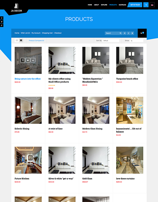 furniture and decor ecommerce joomla template - JA Decor