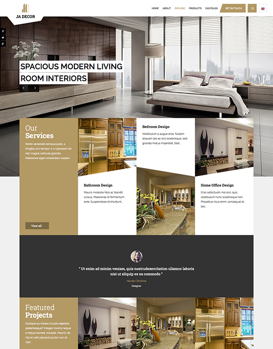 ecommerce joomla decor template brown theme - JA Decor