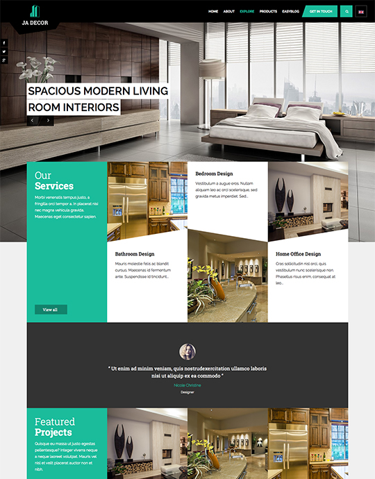 ecommerce joomla decor template green theme - JA Decor
