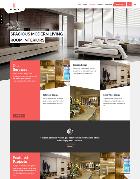 ecommerce joomla decor template red theme - JA Decor