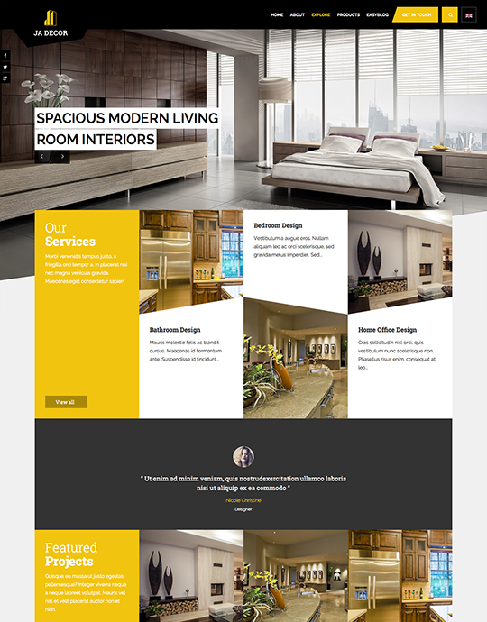 ecommerce joomla decor template yellow theme - JA Decor