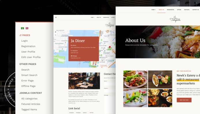 Review Features Ja Diner Joomla Template For Restaurant Pub And