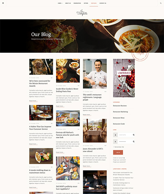 Responsive Joomla template for restaurant, pub or cafe ...