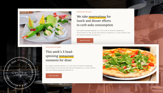Restaurant joomla template reservation page