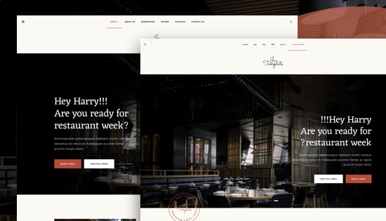 right to left Joomla restaurant template