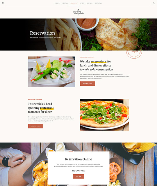 Restaurant Joomla template reservation page - JA Diner