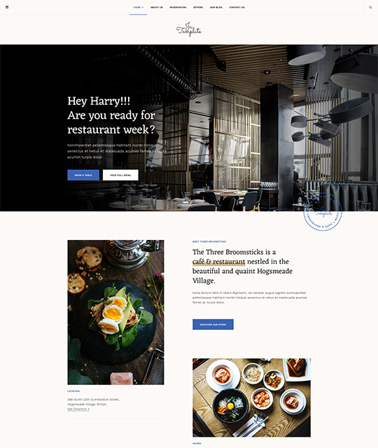 Restaurant Joomla template blue theme - JA Diner