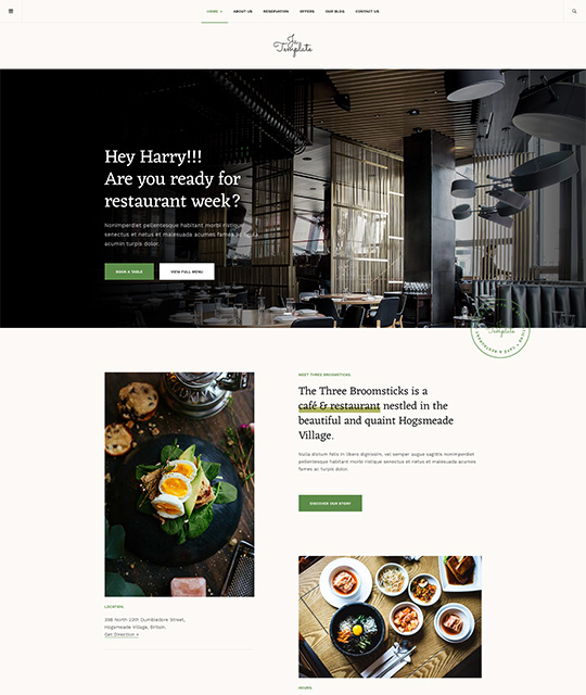 Joomla template for restaurant green theme - JA Diner