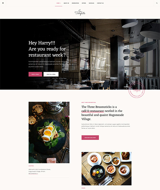 Joomla template for restaurant pink theme - JA Diner