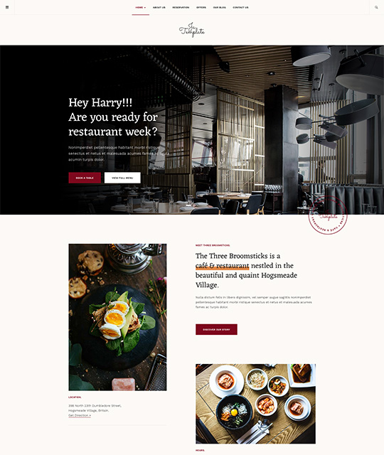 Joomla template for restaurant red theme- JA Diner
